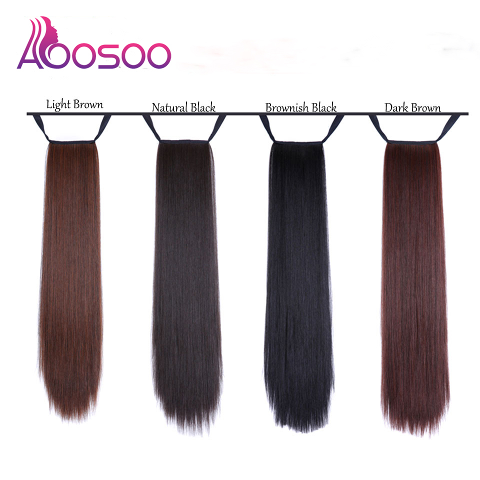 Fashion New Super Long Strap Clip Women's Wig Black Brown Long Straight Hair Ponytail Extended Headwear