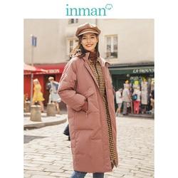 Inman Winter Solid Hooded Raglanmouwen Warm Vrouwen Lange Down Jas