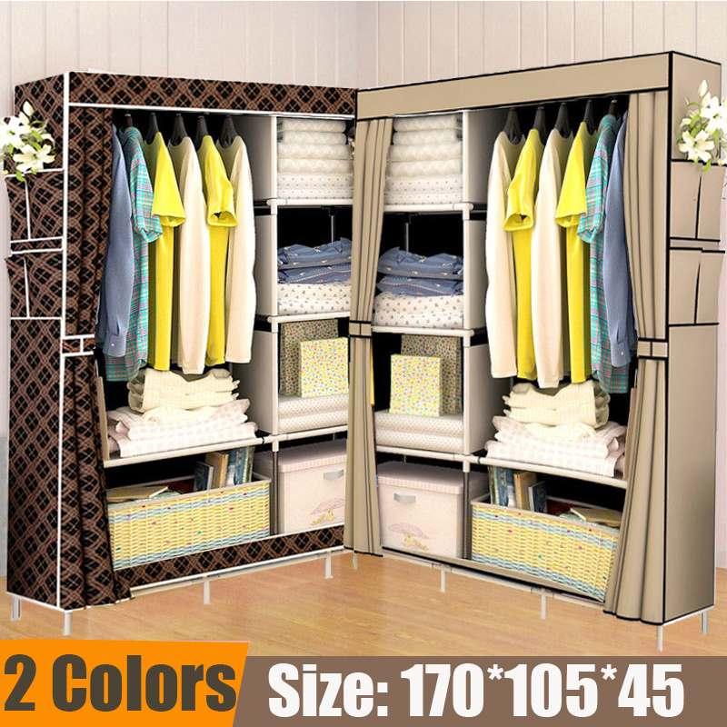 Multifunction Folding Clothes Storage Cabinet Dustproof Moistureproof Closet Stainless Steel Frame DIY Non-woven Cloth Wardrobe