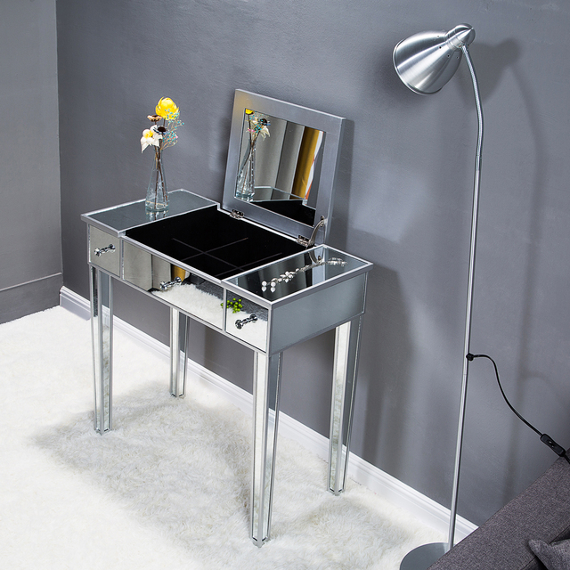 Flip Glass Mirrored Makeup Table Dressing Desk Dresser Anti-Scratch and Rust-Free Easy Assemble Clean[US-Stock] 6