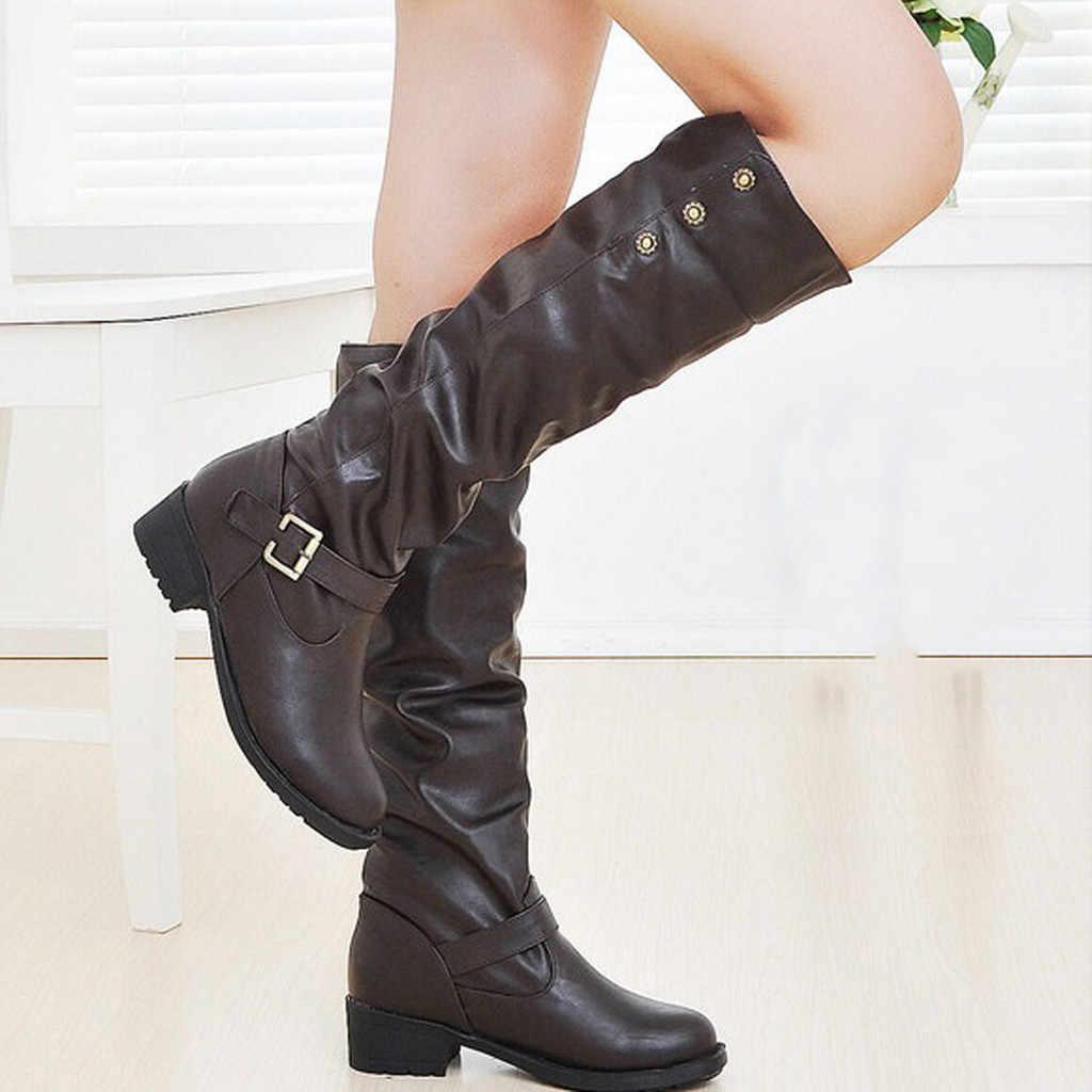 รองเท้าผู้หญิงส้นสูงฤดูหนาวและผู้หญิงฤดูใบไม้ร่วงสุภาพสตรี Retro ต่ำส้นสูงเพิ่มผ้าฝ้ายยาวหลอด Knight