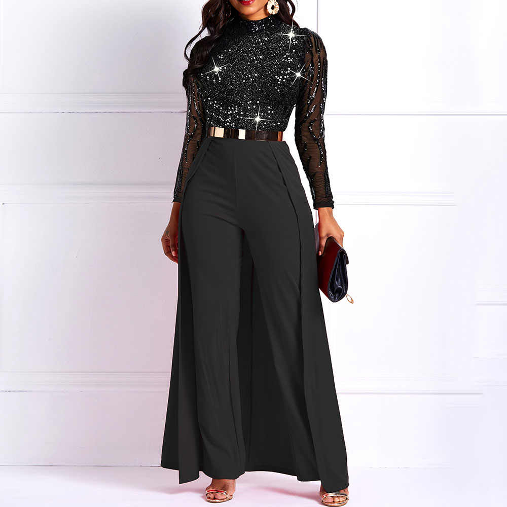 Long Sleeve Plus Size Long Jumpsuit Women Elegant Party Formal Overalls Designer Fashion Slim Ladies Formal Office Harem Pants Aliexpress