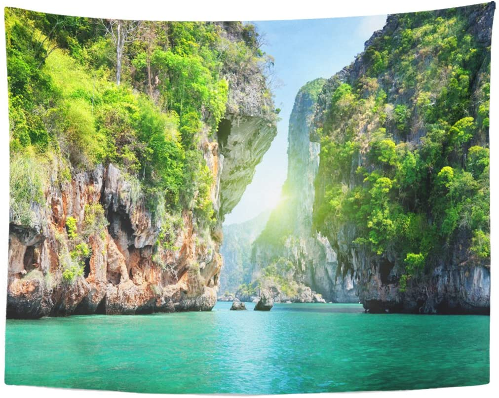 Green Landscape Rocks And Sea In Krabi Thailand Blue Beach Paradise Tapestry Wall Hanging For Living Room Bedroom Dorm 60x80 In Tapestry Aliexpress