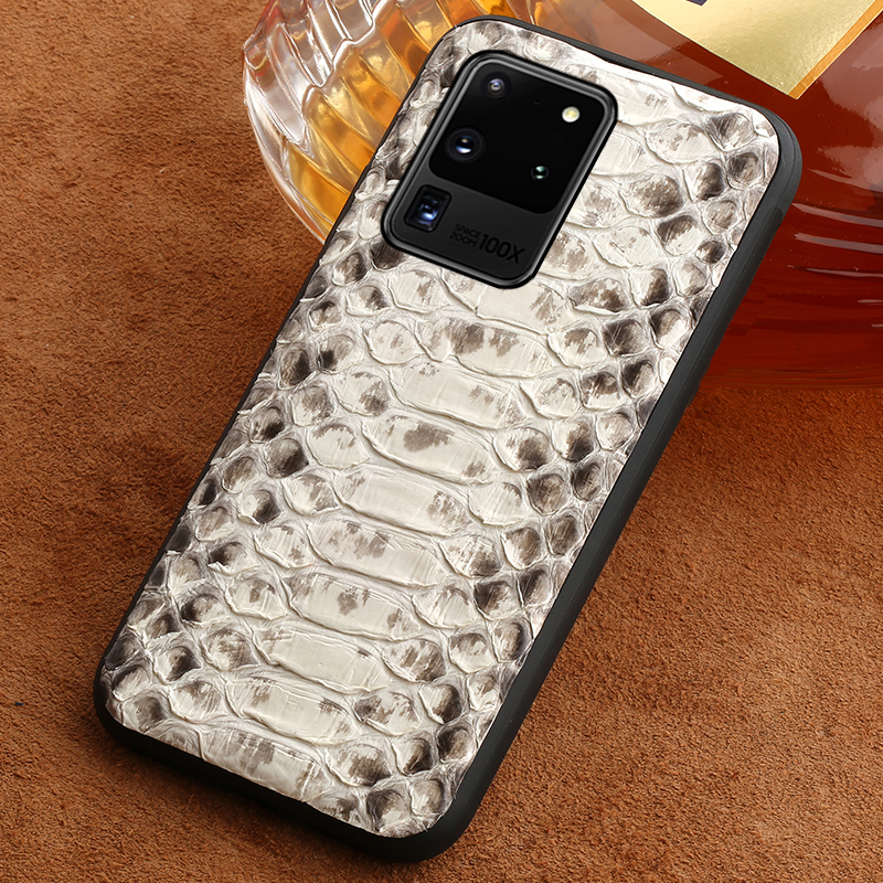 Luxury Genuine Python Leather Phone Case For Samsung Galaxy S20 Plus S20 Ultra S7 S8 S9 S10 Plus A50 A51 A70 A8 Snakeskin Cover