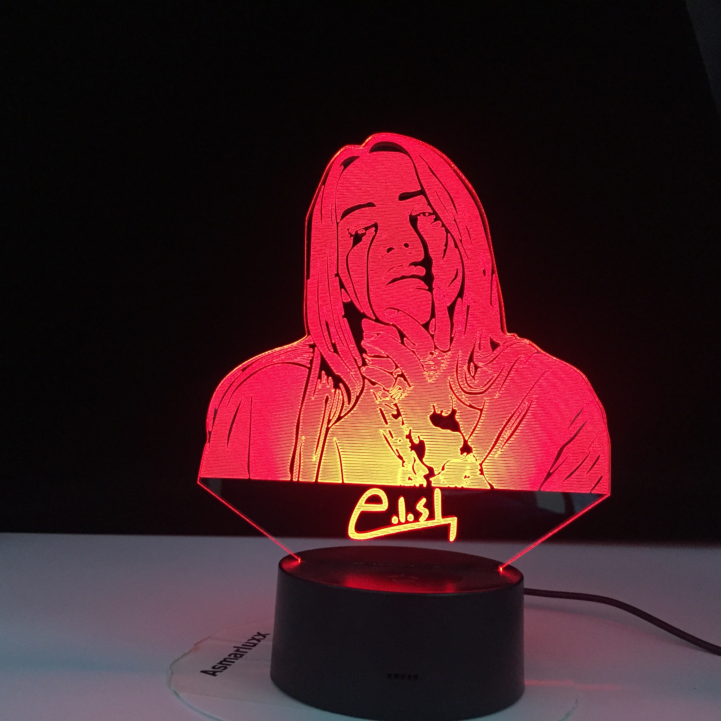 Billie Eilish Figure American Singer Songwriter Led Night Light Fans Gift Office Home Decorative Nightlight Bedroom Bedside Lamp