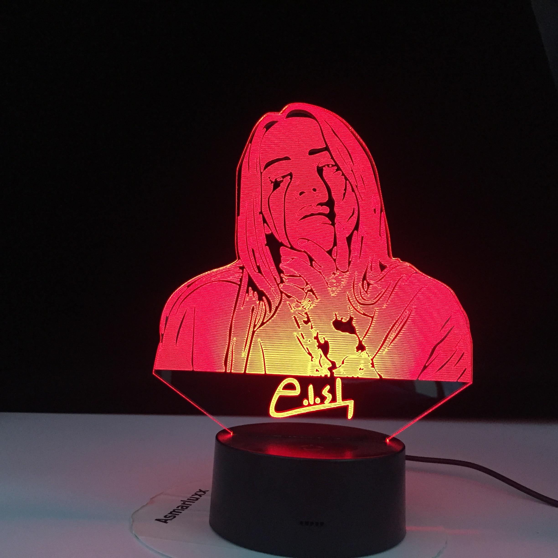 Billie Eilish Figure American Singer Songwriter Led Night Light Fans Gift Office Home Decorative Nightlight Bedroom Bedside Lamp