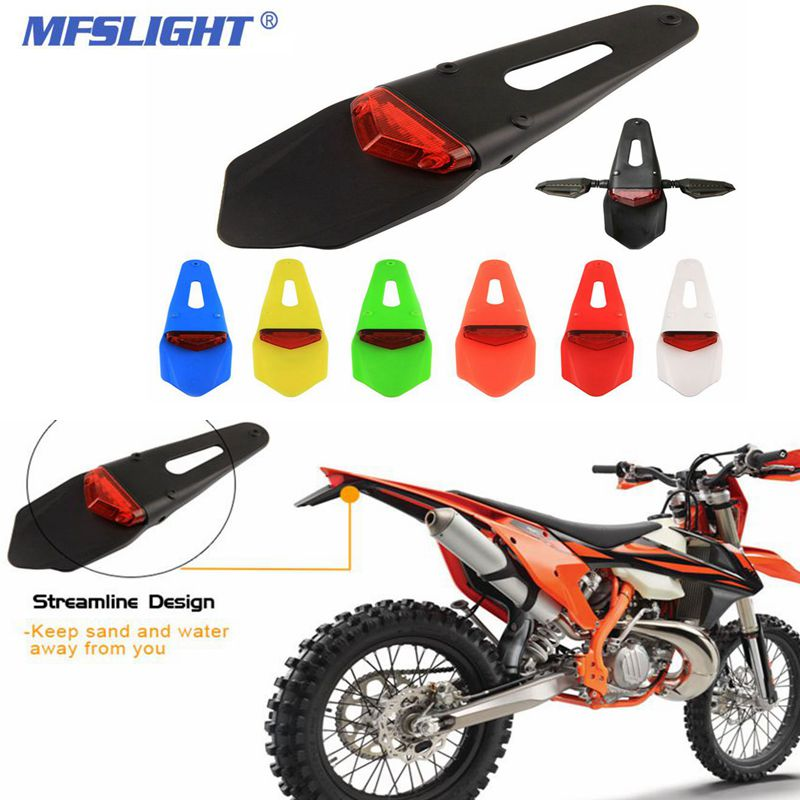 For KTM CR EXC WRF 250 400 Motorcycle Tail LED Light Rear Brake Stop Signal Lights Mudguard Motocross Enduro Motorbike Fenders