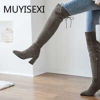 8cm botas cuadradas de tacón alto sobre la rodilla de cuero de gamuza gris Sexy puntera del muslo alto zapatos de invierno para mujer LDI14 MUYISEXI