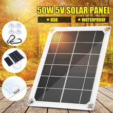 50W 5V Solar Panel Monocrystalline Waterproof Charger Sun Power Bank +10/20/30/50A Controller for Phone Battery Dual USB Port