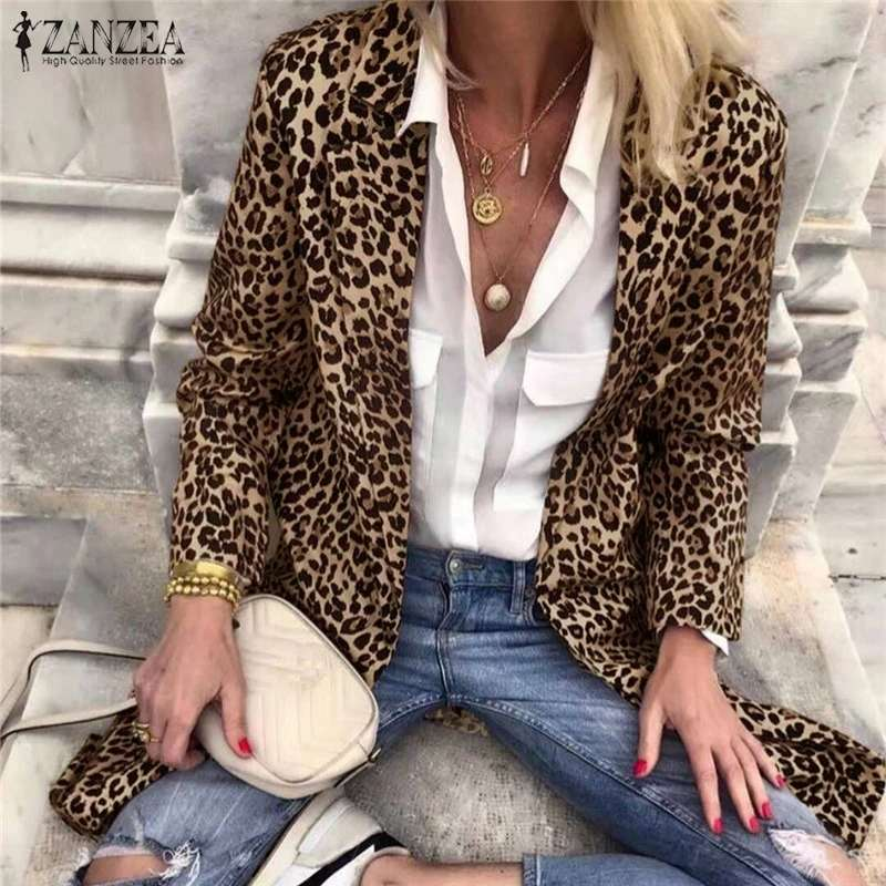 ZANZEA Plus Size Women Turn-Down-Collar Blazers Long Sleeve Sexy Leopard Print Coats Jackets Office Ladies Outwear Streetwear