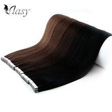 Vlasy ตรง Remy Human Hair Natural Double Drawn Seamless Salon สไตล์เทป 16 ''20'' 24''(China)