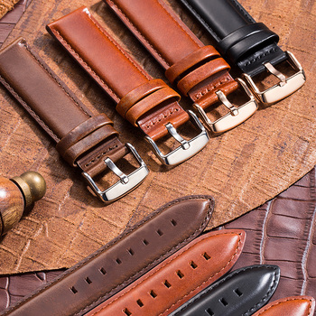 High Quality Genuine Leather Watch Strap Brown 20 19 18 17 16 14 12MM Watchband Men's For DW Daniel Wellington Band - discount item  80% OFF Watches Accessories