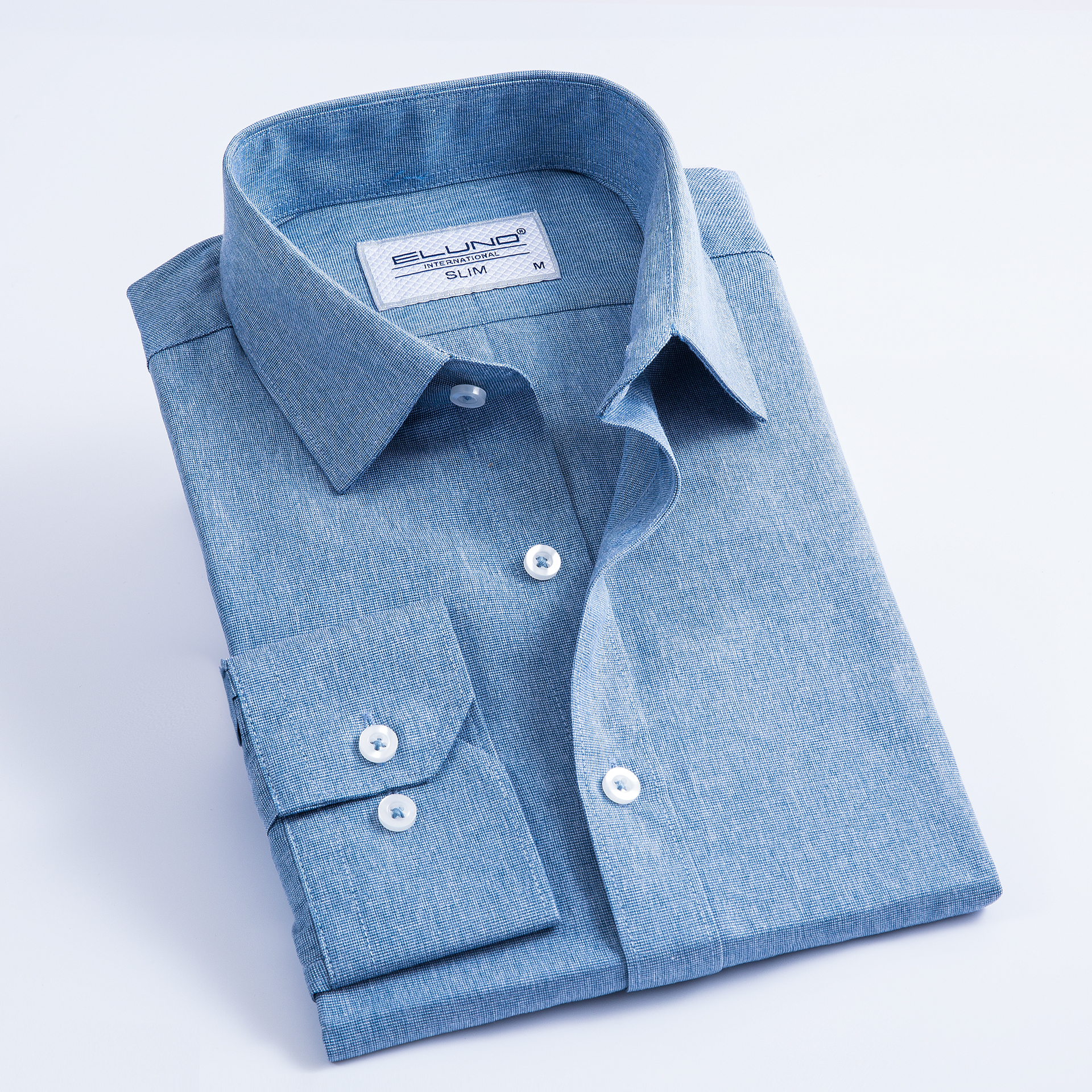 Comfy-Men Twill Long Sleeves Slim Fit Pinstripe Business Shirts