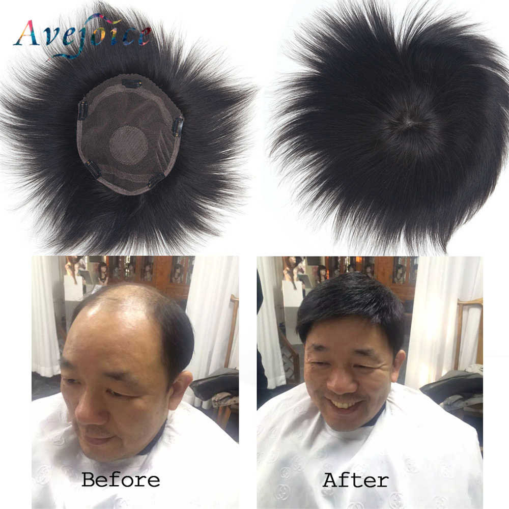 Avejoice Glueless Men Toupee Human Hair Loss Solution 10A Raw Virgin Hair Lace Hair Replacement System with Clip 9*8inch