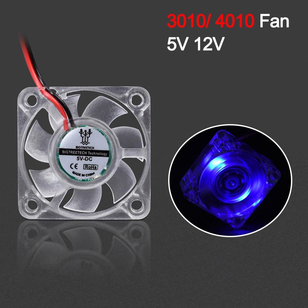 Вентилятор охлаждения BIGTREETECH 3010 4010 со светодиодной подсветкой, 30 мм, 12 В, 5 В, 2-контактный кулер постоянного тока, маленький вентилятор охлажд...