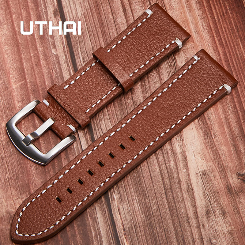 UTHAI Z15 Business Men Watchbands 100% Calf Leather Strap WatchBand 18-24mm Watch Accessories Wristband