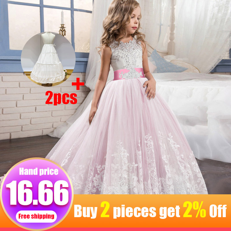 Ladies Fluffy Dress Flower Girl Dress Children Wedding Party Kids Clothes First Communion Princess Ball Gown Vestido Comunion