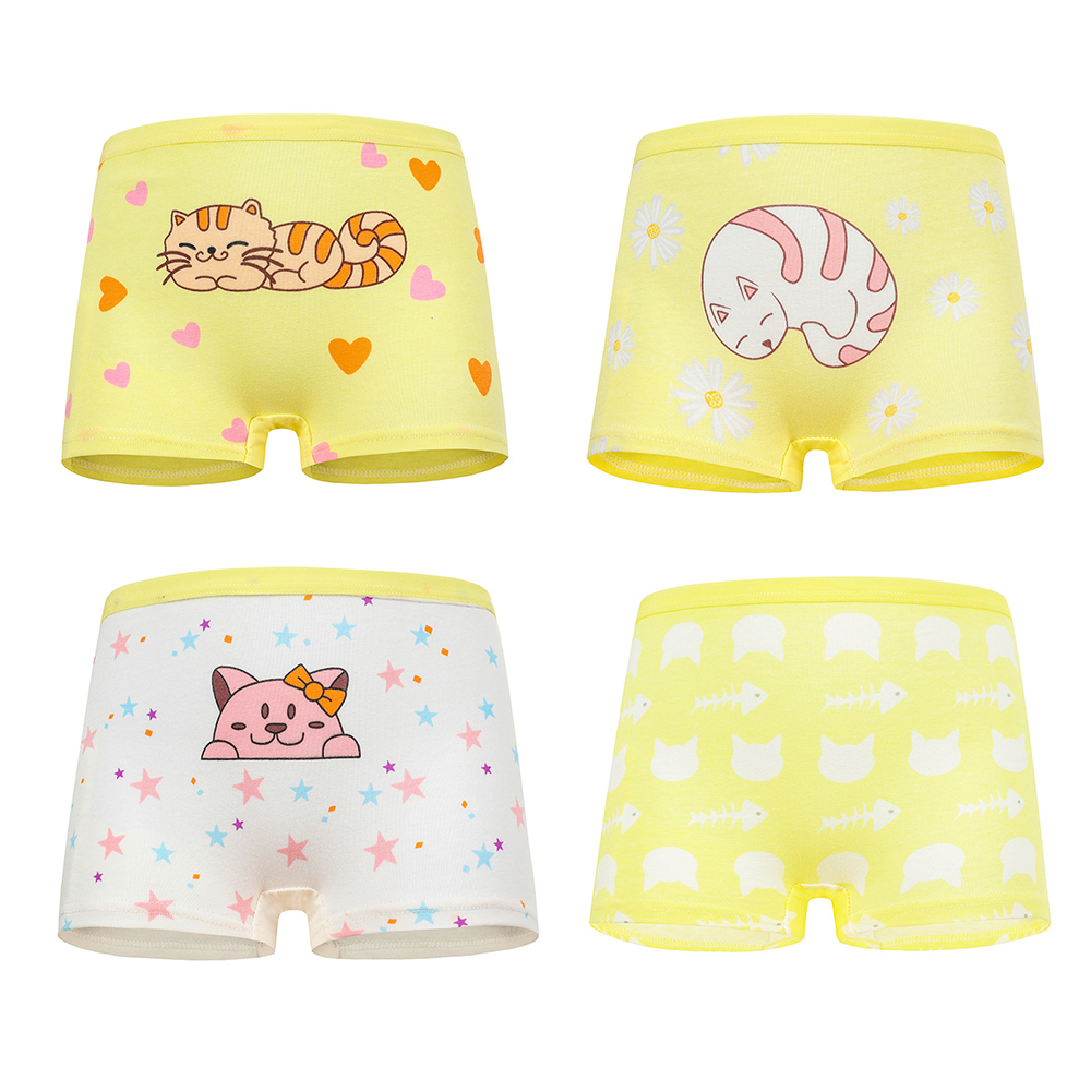 4 Pcs High Quality Pure Cotton Soft Children Underwear Girls Panties Cute Pattern Kids Boxer Briefs Child Girl Pants 2-12 Years 3
