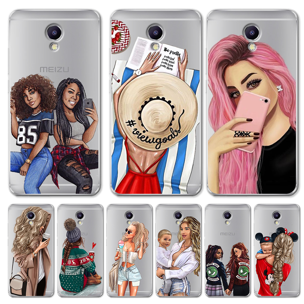 Girl luxury For <font><b>Meizu</b></font> <font><b>M3S</b></font> M5 M5S M5C M6 M3 M5 M6 Note U10 U20 phone Case <font><b>Cover</b></font> Coque Etui capa Funda shell capinha woman capa image