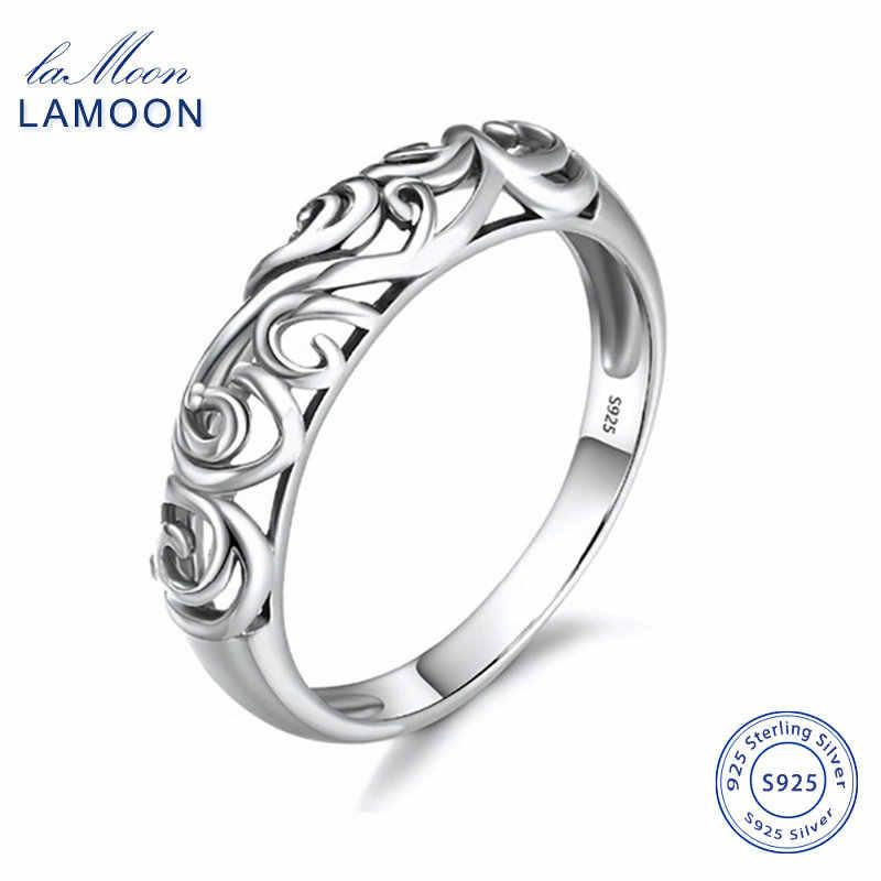 LAMOON 925 เงินเปิดแหวนผู้หญิง Simple Black Zircon MINI Ball S925 เงินสเตอร์ลิงเครื่องประดับของขวัญ Fine Anti- ภูมิแพ้ EMRG011