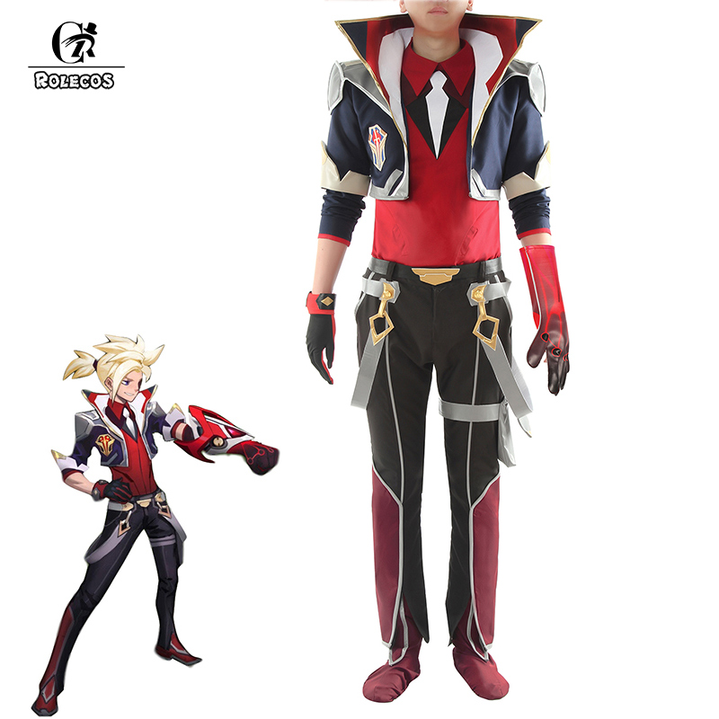 ROLECOS Game LOL Ezreal Cosplay Costume LOL Battle Academia Ezreal Cosplay Costume Men Uniform Full Set Outfit