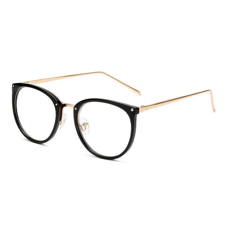 Transparent Lens Optical Glasses Frame Women Round Cat Eye Eyeglasses Vintage Metal Spectacles Oversized Eyewear