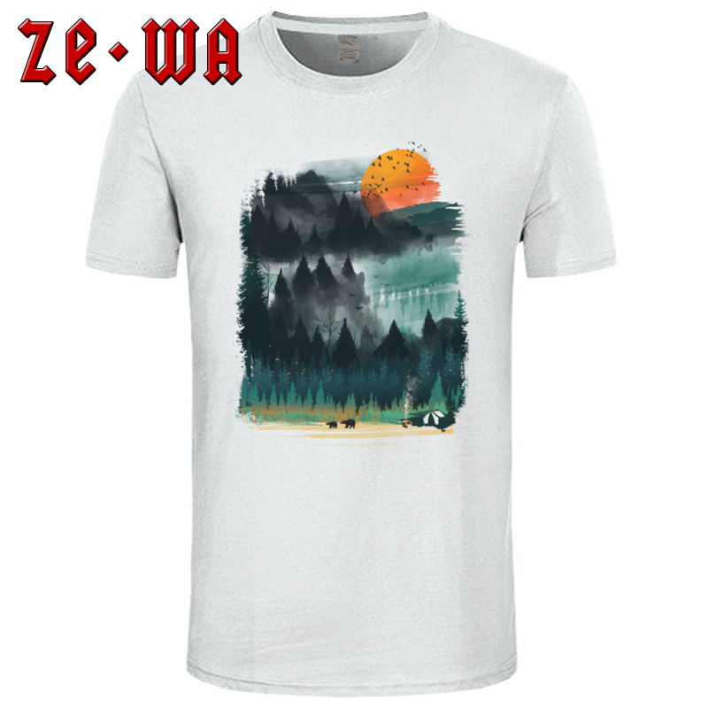 <font><b>Wilderness</b></font> Camp Top <font><b>T</b></font>-<font><b>shirt</b></font> For Men Mountain Sunset Print Short Sleeve Camisa Watercolor Summer <font><b>T</b></font> <font><b>Shirt</b></font> O-Neck Cotton Sweatshirt image