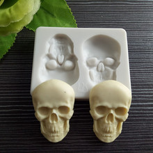 3D Skeleton Head Skull Fondant Mold DIY Chocolate Candy Molds Halloween Party Cake Decoration Mold Pastry Baking Decorating Tool skeleton skull head silicone chocolate muffin cupcake candy ice cube mold halloween