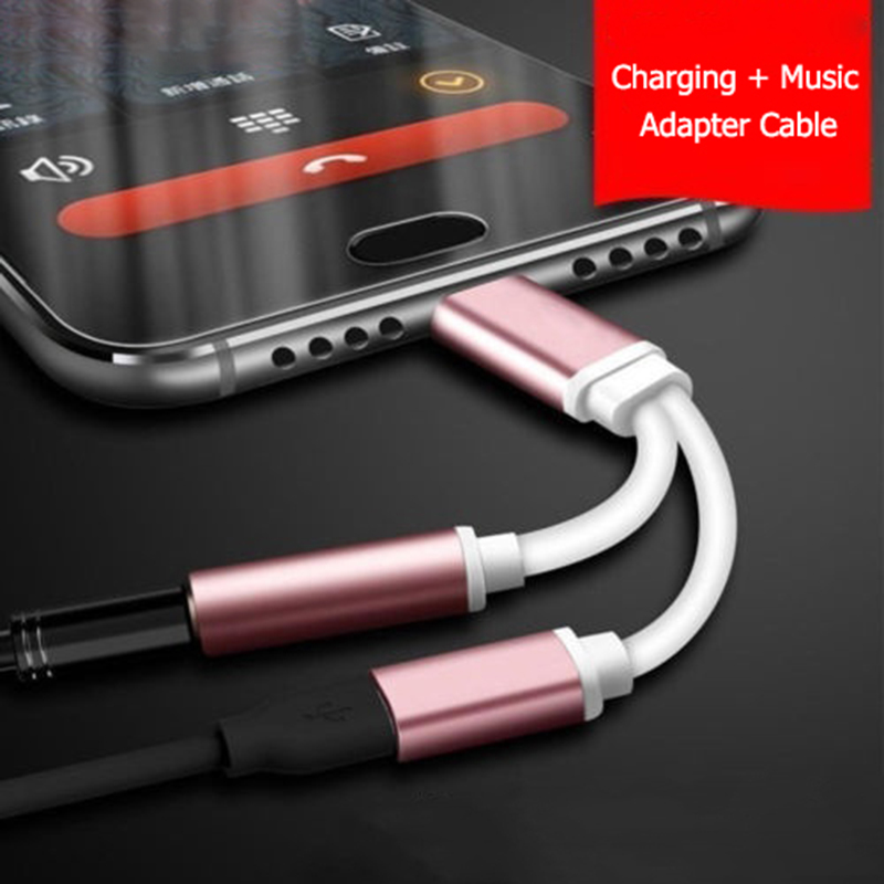 Auriculares Adaptador 2 In 1 Adapter For IPhone XR X XS MAX 8 7 Plus 3.5mm Jack Headphone AUX Splitter Converter Adaptateur