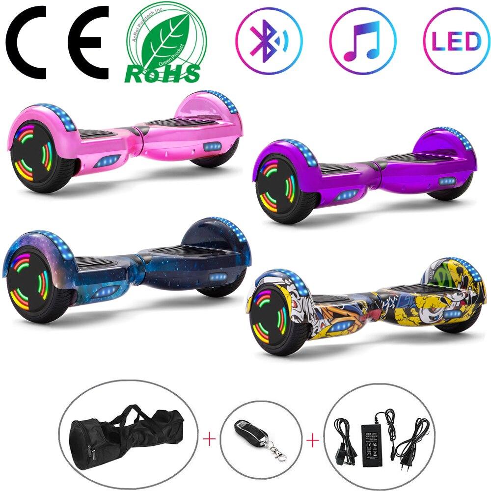 Hoverboard 6.5Self-skuter samobalansujący skuter elektryczny 2 koła Rainbow Lights Smart Balance deskorolka LED + klucz zdalny + torba