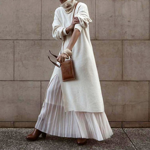 Женское длинное платье-водолазка, Теплое повседневное платье макси в Корейском стиле, весна-осень 2020