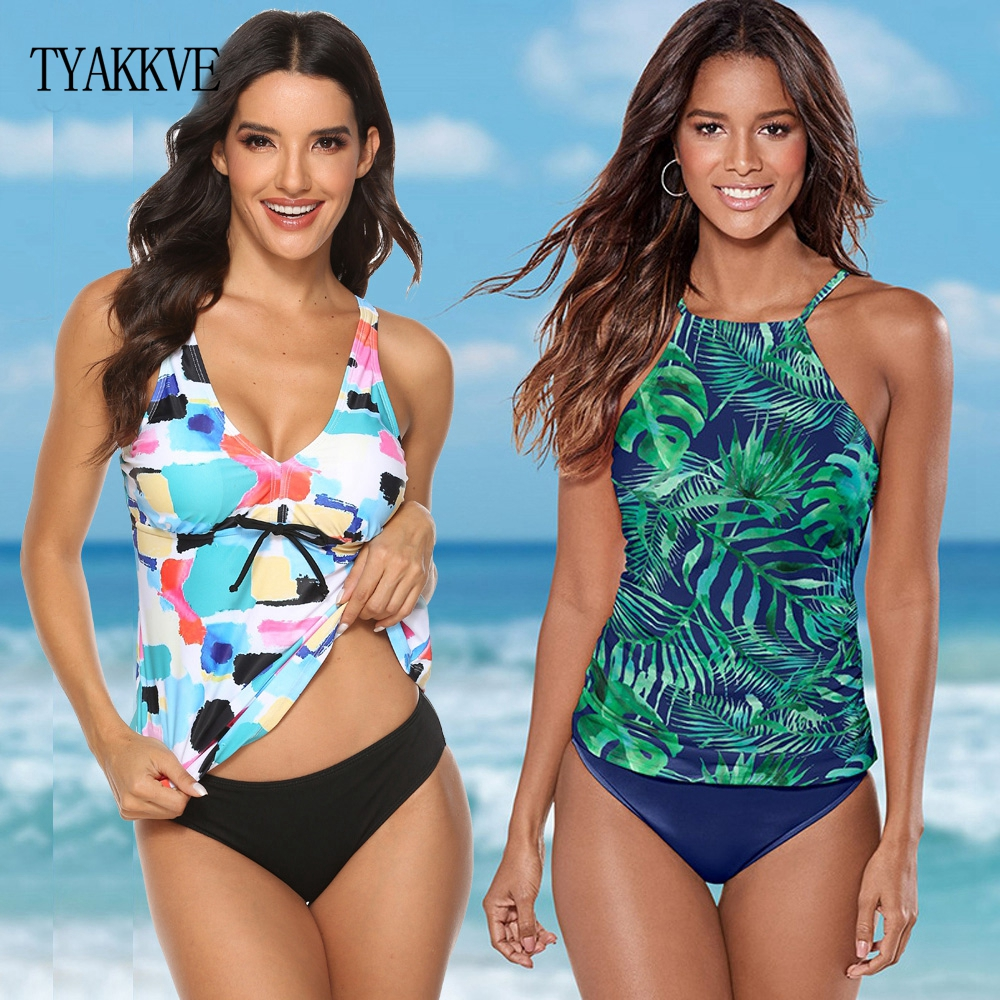 2019 Halter Tankini Swimsuit Women Plus Size Swimwear Retro Floral Plus Size Swimwear Swimming Suit Maillot De Bain Femme Bikini
