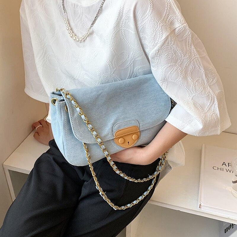 Denim bolsas femininas designer marca feminina bolsa