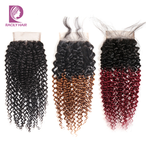 Image 1 - Racily שיער Ombre ברזילאי קינקי מתולתל סגירת חום T1B/30 4x4 רמי שיער טבעי תחרה סגר עם תינוק שיער שלושה התיכון חלק