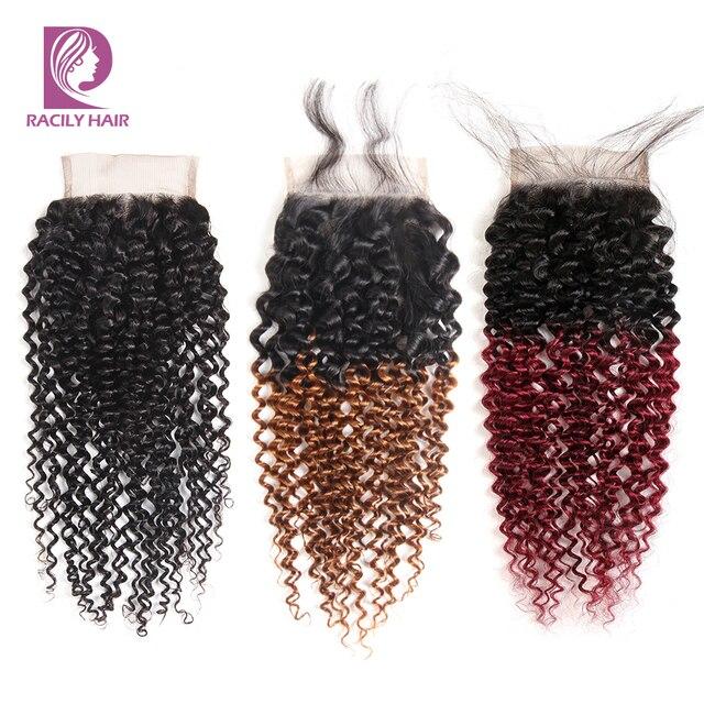 Racily שיער Ombre ברזילאי קינקי מתולתל סגירת חום T1B/30 4x4 רמי שיער טבעי תחרה סגר עם תינוק שיער שלושה התיכון חלק