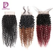 Racily do włosów Ombre brazylijski Kinky kręcone zamknięcie brązowy T1B/30 4x4 Remy ludzki włos uzupełnienie splotu włosów lace Closure z dzieckiem włosy trzy bliski część