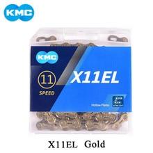Kmc x11el x11 corrente de bicicleta 11 velocidade corrente com botão mágico para a montanha/haste bicicleta peças com caixa original 118l