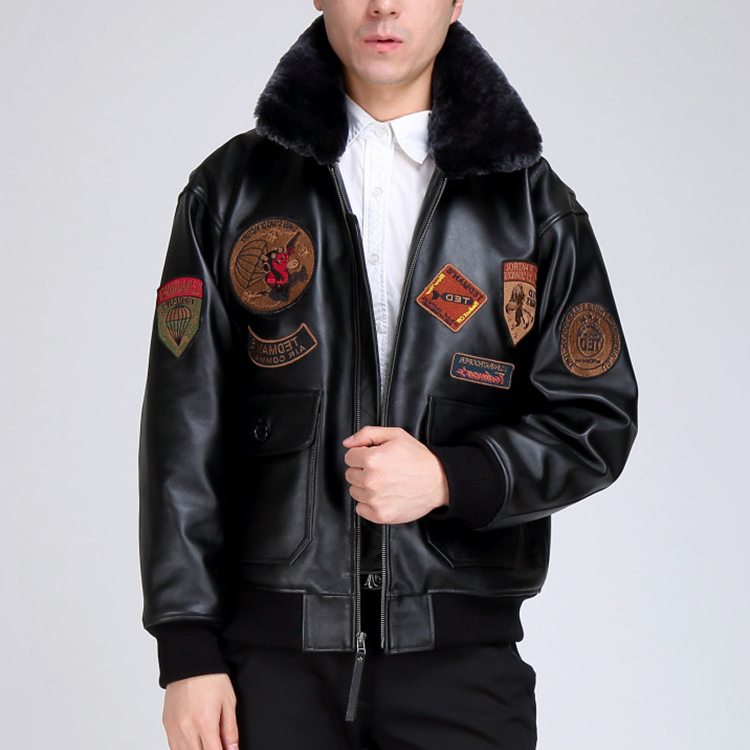 Men's Real Cowskin Fur Collar Genuine Men Winter Leather Coat Air Force Flight Bomber Jacket
