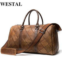 WESTAL Men's Luggage Travel Bags Genuine Leather Duffle