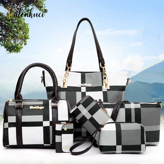 New Fashion Luxury Handbags New 6 PCS Set Women Plaid Colors Handbag Female Shoulder Bag Travel Shopping Ladies Crossbody Bag 1