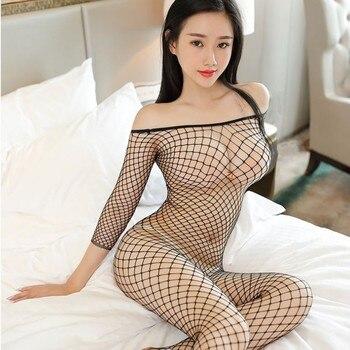 Комбинезон из латекса секс сетки ажурные колготки облегающий костюм чулки Для женщин Эротическое белье сексуальное дамское белье с открытой промежностью боди в сеточку