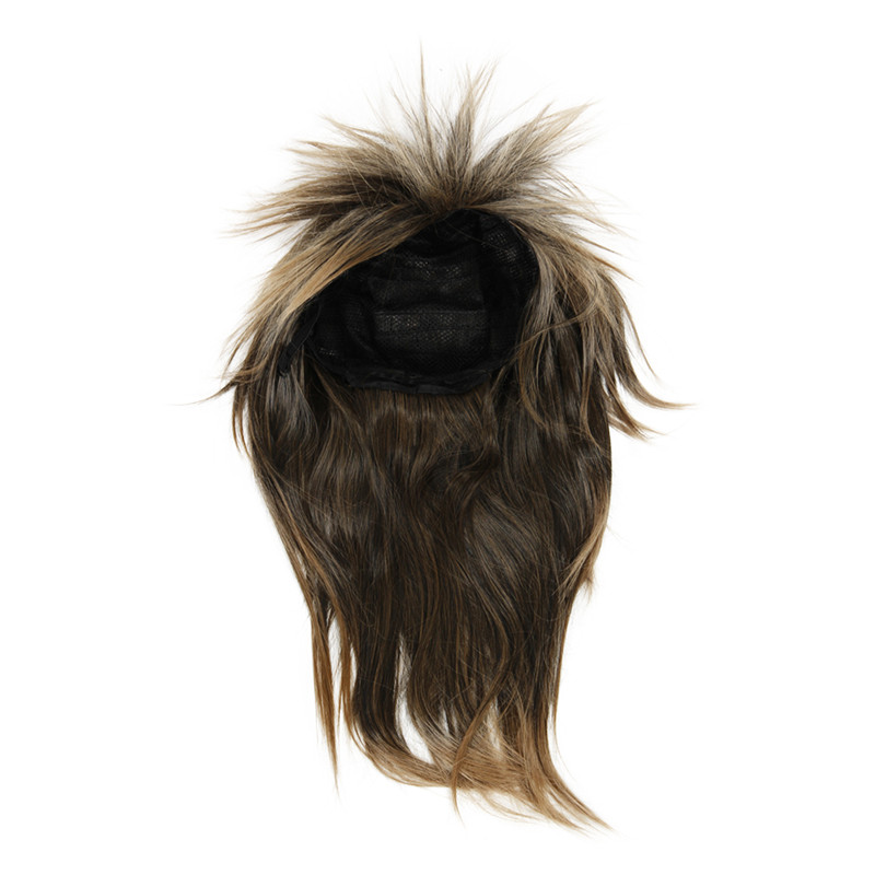 CSS 80s LADIES GLAM PUNK ROCK ROCKER CHICK TINA TURNER WIG FOR A FANCY DRESS COSTUME - Brown Black(China)