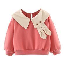 Джемпер с длинными рукавами и заячьими ушками для маленьких девочек; Модный трендовый удобный мягкий осенний хлопковый свитер с длинными рукавами и кукольным воротником