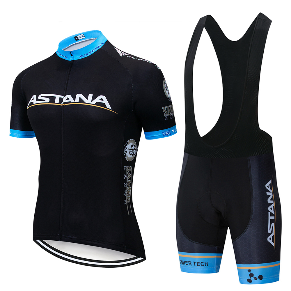 Black Astana2020summer Cycling Sweatshirt Set Men's Short Sleeve Shirt MTBJersey Men's Cycling Clothing Bicycle Maillot Ciclismo
