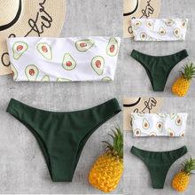 Mulher praia padrão de impressão de frutas tubo de banho até duas peças bandagem bandagem conjunto de biquíni push-up maiô banho beachwear
