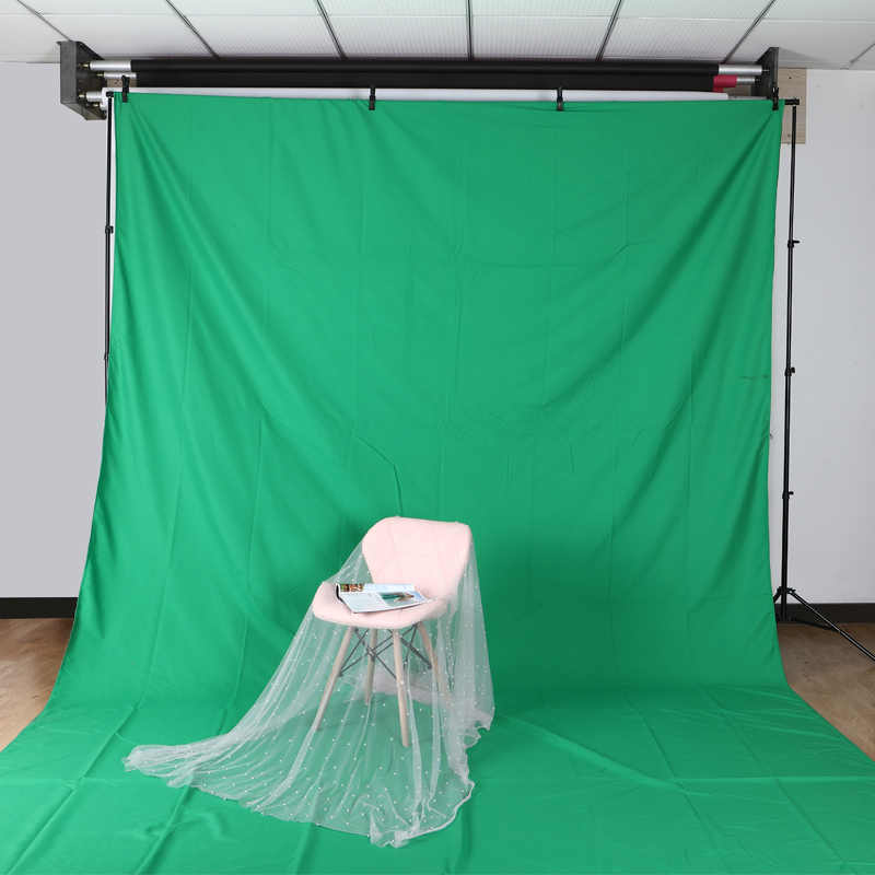 Gran oferta de algodón de Color verde textil muselina foto fondos estudio fotografía pantalla Chromakey telón de fondo tela