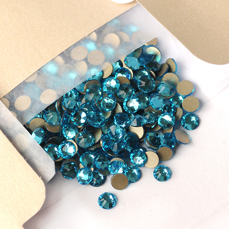 2088 Cut Glass Rhinestones Strass Aquamarine Flatback Nail Art Diamond Crystal Stones For Sewing & Fabric Garment Decorations-4