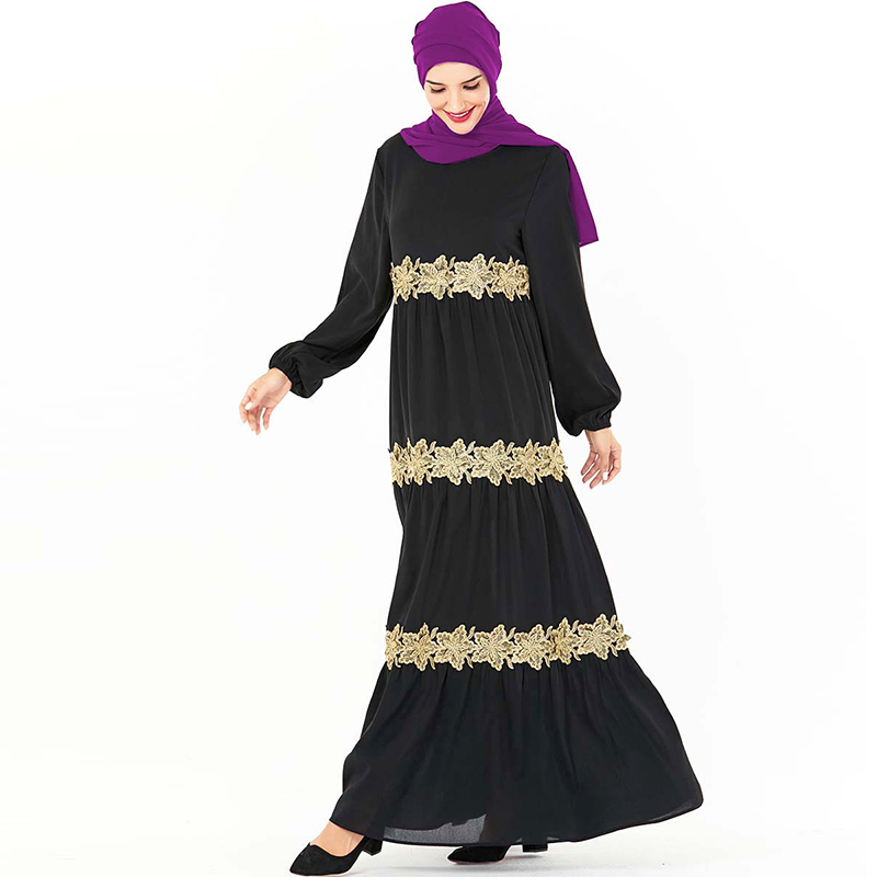 Black Floral Abaya Dubai Plus Size Hijab Muslim Dress Saudi Arabia Islam Clothing For Women Turkish Dresses Caftan Kaftan Robe