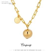 Yhpup Statement Pendant Metal Ball Round Choker Necklace Charm New Design Texture Chain Necklace бижутерия для женщин Gift 2020