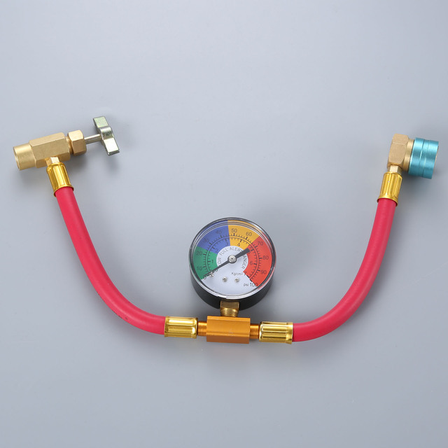 Low Side R1234yf Quick Coupler Refrigerant Recharge Hose Kit Pressure Gauge Can Opener Quick Coupler
